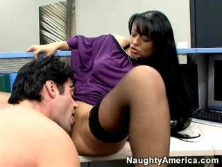 Brunette Clothed Licking  Office Stockings