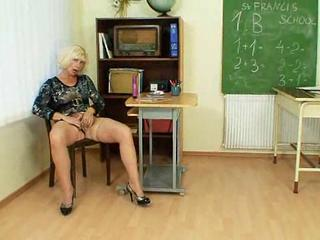 Masturbating Mature School Stockings Teacher