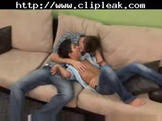 Gay blowjob & anal sex on sofa