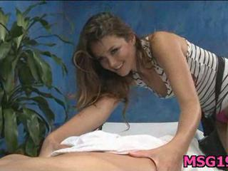 Brunette gets face covered with cum