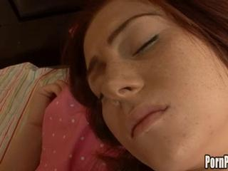 Redhead teen with small tits gets fucked while sleeping