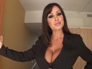 Provocative brunette secretary give huge boobs testing futur...