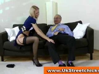 Old man fucking a sexy blonde stockings babe