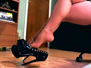 Erotic hypnotist using her high heel
