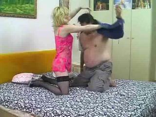 Blond whore fucking with fat old guy
