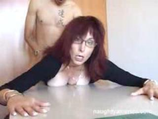 Doggystyle Glasses Mature Redhead