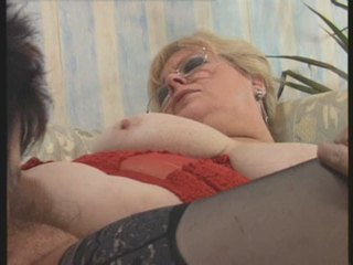 Glasses Granny Hairy Licking Stockings