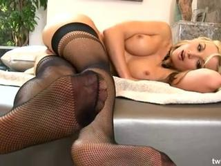 Hot Blonde Beauty In Sexy Fishnet Stockings Plays With Her Purple Vibrating Dildo  Sex Tubes