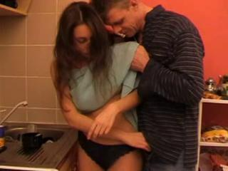 Daddy Daughter Kitchen Old and Young Panty Teen
