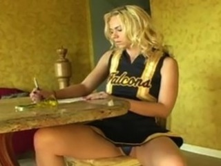 Blonde Cheerleader Teen Uniform Upskirt