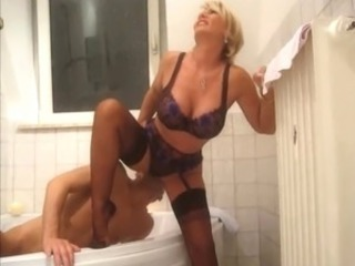 Bathroom Lingerie Licking  Stockings