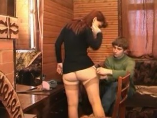Mom Russian MILF Redhead Stockings Old and Young Amateur Homemade Ass