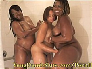 Three obese girls are showering pile up increased by having a reverberate