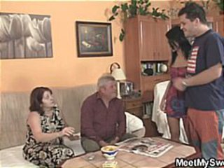 Saleable mature light-complexioned amateurs here a hot foursome fuck on high the couch