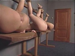 Naughty schoolgirls line up for their ass spanking punishment