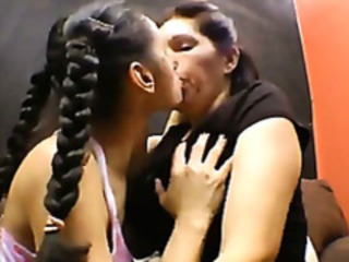 Brazilian Mature With an increment of Young Lesbians Kissing