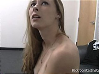 Brunette student in an interview gives it all up for facial
