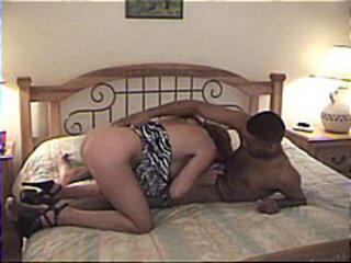 Black man sporting a huge fat cock puts it on mature white babe's holes