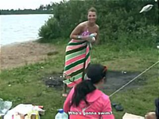 Petite young brunette skinny dips in the lake and gets nailed by her black boyfriend