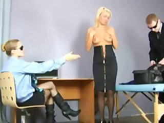 Busty blonde going through tough medical examination