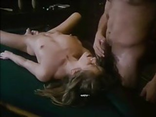 Skinny output girl eaten out and fucked on pool table tubes