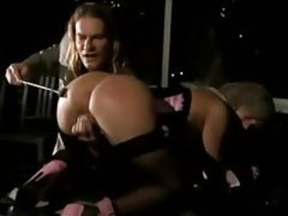 Sexy blonde sub in lingerie smacked with riding crop tubes