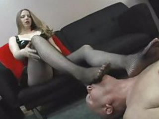 Dominant girl wants him to lick her feet tubes