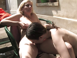 Daughter Granny Lesbian Licking Outdoor
