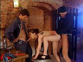 Horny slut fucked in basement by two guys tubes