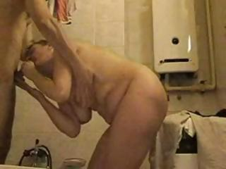 Amateur Bathroom  Blowjob Homemade Mature Mom