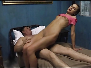 Old man fucks and kiss skinny Teen (Nataly Gold)