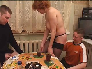 Amateur Drunk Family Homemade Kitchen Mature Mom Old and Young Redhead Threesome