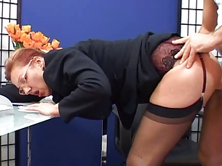 Clothed Glasses Mature Office Secretary Stockings