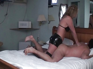 Wife mistress pounds husbands ass with strapon