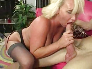 Blonde Blowjob Mature Stockings