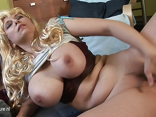 Amazing Big Tits Blonde Chubby Masturbating