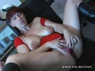 Busty brunette amateur wife toys herself and then