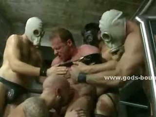 Large whips torment gay hunks bound on bondage devices excommunication them roughly in hot video