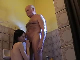 Uncompromisingly old Grandpa Mireck and young girl