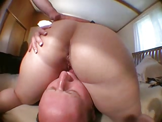 Balding Hubby Licks Wifes Pussy after Pal Fucks