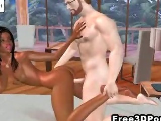 Sexy 3D cartoon hottie getting licked and sticked