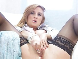 Amazing Cute Dildo Masturbating  Solo Stockings Toy