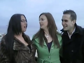 British MILF and Emma Butt in a FFM threesome
