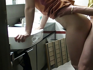 Korean couple bathroom fuck