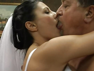Bride Daddy Kissing  Old and Young