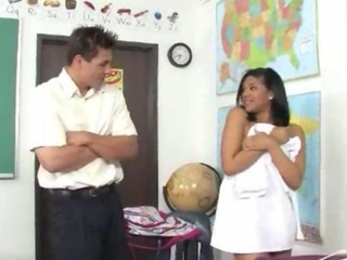 Latina partisan copulated on the teacher