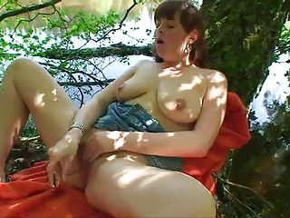 Chubby Masturbating Natural Outdoor  Solo Toy
