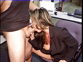 Smoking hot scretary blowing cock in the office