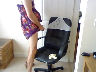 tranny high heels and panties huge cumshot onto grey panties