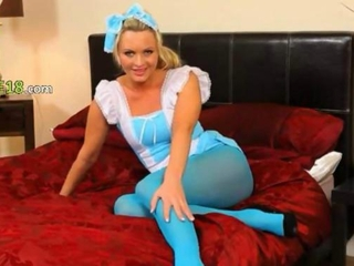 Blue nylon pantyhose with the addition of blondie ribbing